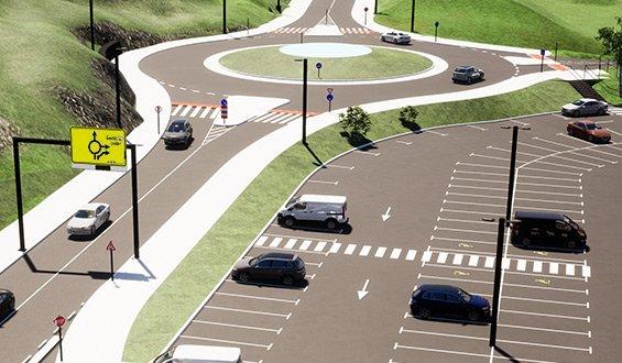 Изображение на кръгово кръстовище с пътни знаци